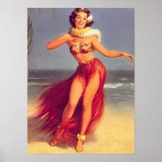 Poster modelo de la hawaiana