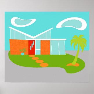 Poster moderno de la casa del dibujo animado de