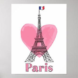 Poster moderno de la torre Eiffel del amor rosado