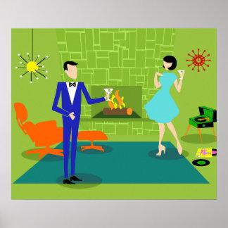 Poster moderno de los pares de los mediados de