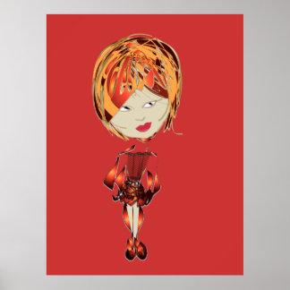 Poster moderno del arte de Digitaces del chica