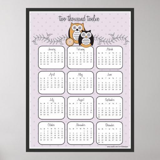Poster moderno del calendario de los búhos 2012