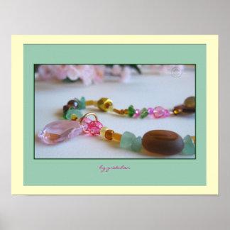 Poster moldeado 2 del collar del rosa de la flor d