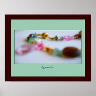 Poster moldeado del collar del rosa de la flor de