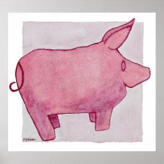 Poster moldeado rosado del cerdo
