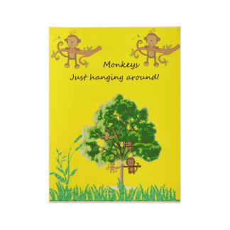 Poster monkey hanging around yellow