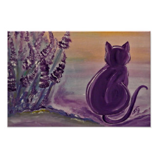 "Poster motive ""Lavender Cat"" of archives paper"
