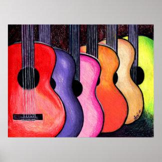 Poster multicolor de las guitarras por Loni