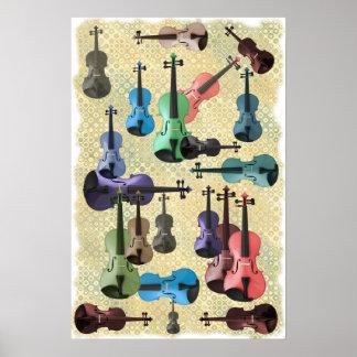 Poster multicolor del papel pintado del violín póster