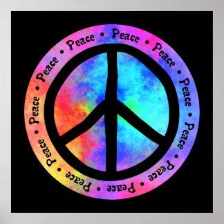 Poster multicolor del signo de la paz póster
