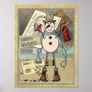 Poster - muñeco de nieve viejo del azul de la moda