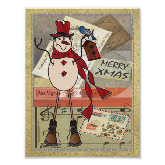 Poster - muñeco de nieve viejo del rojo de la moda