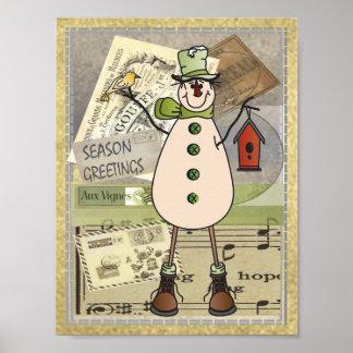 Poster - muñeco de nieve viejo del verde de la