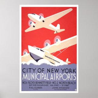 Poster municipal de los aeropuertos de la ciudad d