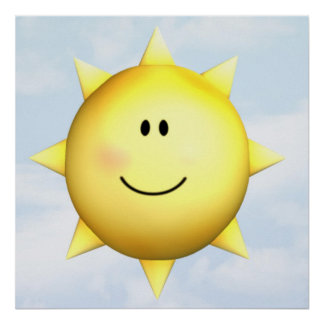 Poster mural happy face sunshine 23x23 customize