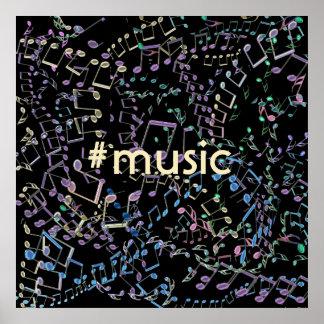 Poster #Music de las notas musicales del arco iris