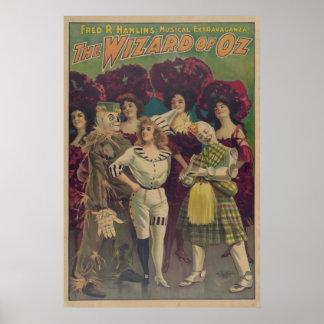 Poster musical del VODEVIL de mago de Oz del espan