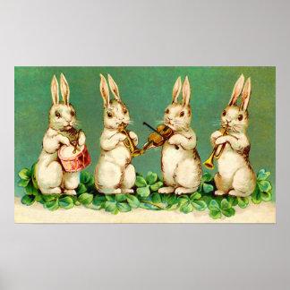 Poster musical encantador de los conejitos de pasc