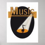 Poster - Muzieknoot in spotlight design Music