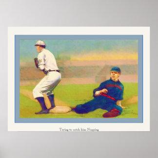 Poster Napping del béisbol del vintage del ~