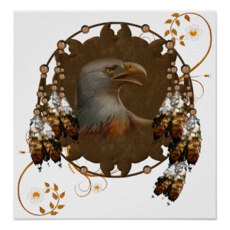 Poster Native American Eagle Design Poster