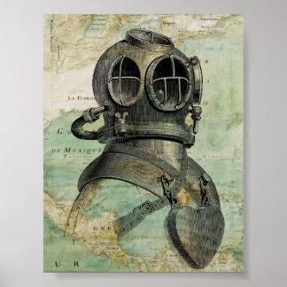 Poster náutico antiguo del casco del mapa y de la