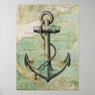 Poster náutico antiguo del mapa y del ancla