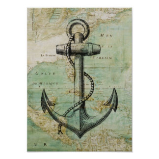 Poster náutico antiguo del mapa y del ancla póster