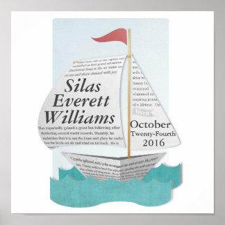 Poster náutico de encargo del barco de vela póster