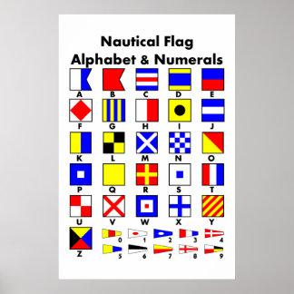 Poster náutico del alfabeto y de los números de la