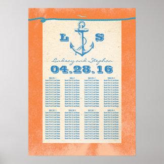 Poster náutico del ancla para los bodas