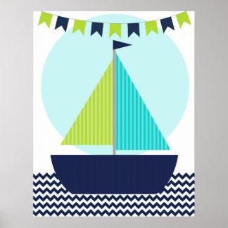 Poster náutico del cuarto de niños del velero