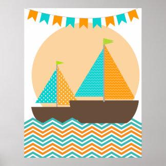 Poster náutico del cuarto de niños del velero del