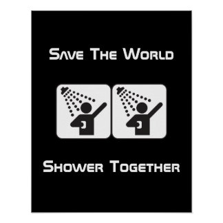 Poster negativo de la ducha junto