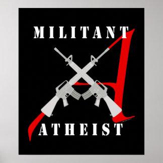 Poster negro ateo militante póster