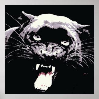 Poster negro de la pantera de Jaguar Póster