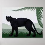 Poster negro de la pantera de la selva