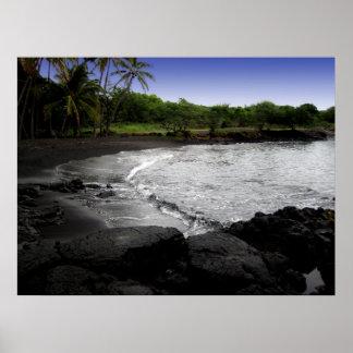 Poster negro de la playa de la arena de Punalu'u