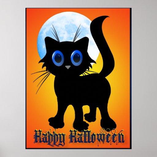 Poster negro del gatito del feliz Halloween