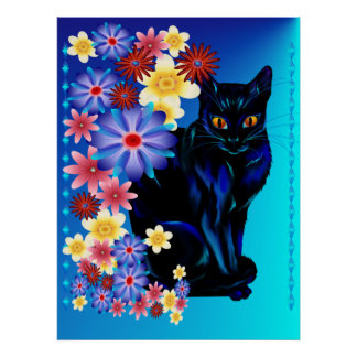 Poster negro del gatito del jardín