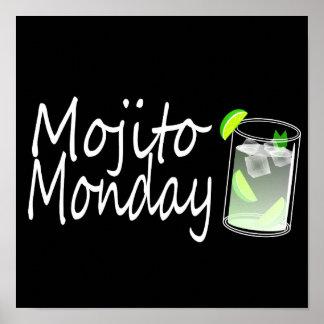 Poster negro divertido de Mojito lunes