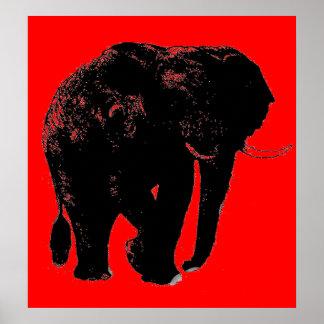 Poster negro rojo de la silueta del elefante del