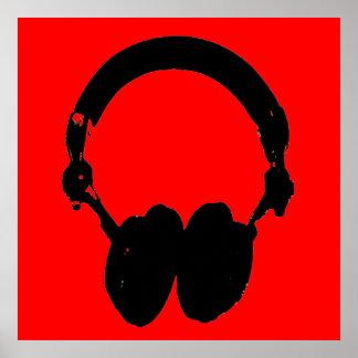 Poster negro rojo del arte pop de la silueta del