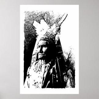 Poster negro y blanco de Geronimo del arte pop