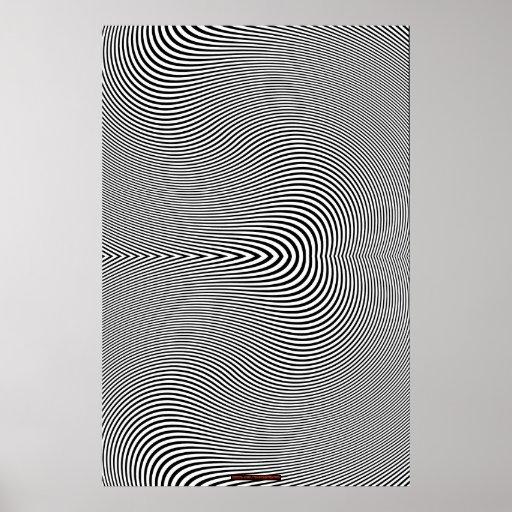 Poster negro y blanco de la pared de la ilusión