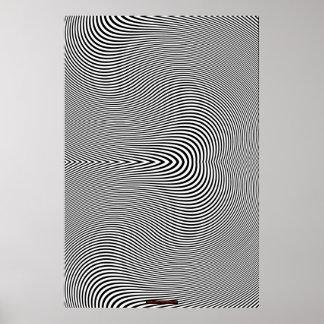 Poster negro y blanco de la pared de la ilusión óp