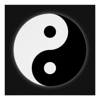 Poster negro y blanco de Yin Yang