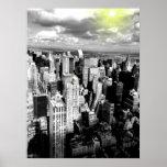Poster negro y blanco del horizonte de New York Ci