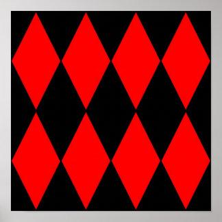 Poster negro y rojo de los diamantes