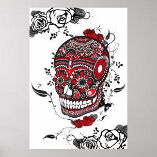 Poster negro y rojo del cráneo del azúcar de Muert